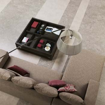 Amtico Spacia LVT in Ceramic Ecru (SS5S3592) with Ocean Travertine (SS5S3600)